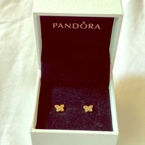 Authentic Pandora Petit Butterfly Gold Earrings